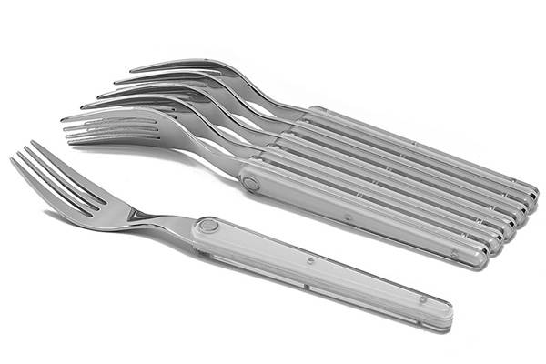 6-stainless steel fork set- Laguiole Evolution Sens white flatware