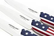 3-Steak knife set Flag/Pays – 10cm white ceramic blade