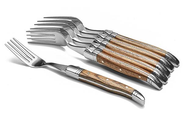Laguiole Production 6-fork set – Wood handle