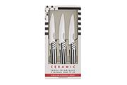 3-Steak knife set Flag – 10cm white ceramic