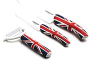 3-Kitchen knife set Flag/Pays – White ceramic blade