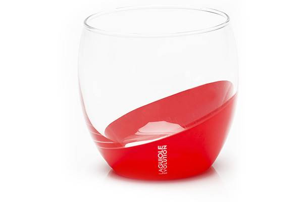 6-red lowball glasses, 6cm – Laguiole Evolution tableware