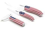 3-Kitchen knife set Flag/Pays –White ceramic blade